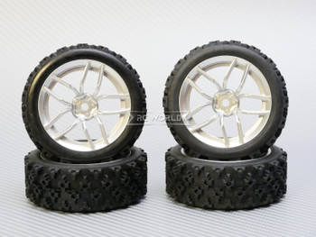 RC Car 1/10 Rally WRC Wheels Tires Package SILVER 3MM *4 pcs*