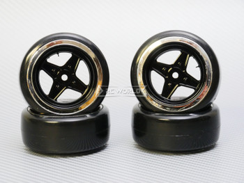 1/10 DRIFT WHEELS Vintage 3MM Offset BLACK Work 4 Star W/ Chrome LIP *4pcs*