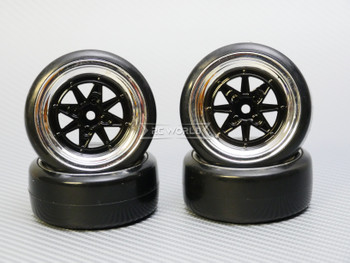 1/10 DRIFT WHEELS Vintage 3MM Offset BLACK Work Star W/ Chrome LIP *4pcs*