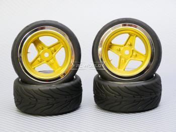 1/10 STREET Wheels Vintage 3MM Offset GOLD Work 4 Star W/ Chrome LIP *4pcs*