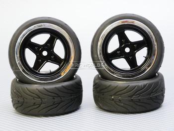 1/10 STREET Wheels Vintage 3MM Offset BLACK Work 4 Star W/ Chrome LIP *4pcs*