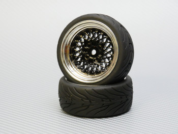 1/10 STREET Wheels Vintage 3MM Offset BLACK Work Mesh W/ Chrome LIP *4pcs*