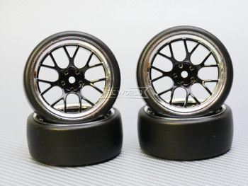1/10 DRIFT Wheels 6MM Offset BLACK  Web W/ Chrome LIP *4pcs*