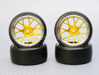 1/10 DRIFT Wheels 6MM Offset GOLD  Web W/ Chrome LIP *4pcs*