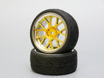1/10 STREET Wheels 3MM Offset GOLD Web W/ Chrome LIP *4pcs*