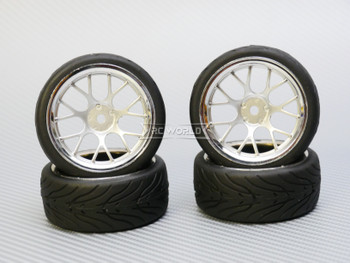 1/10 STREET Wheels 6MM Offset BLACK Web W/ Chrome LIP *4pcs*