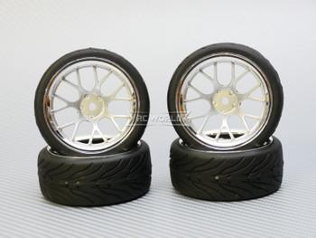1/10 STREET Wheels 9MM Offset SILVER Web W/ Chrome LIP *4pcs*
