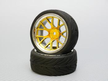 1/10 STREET Wheels 9MM Offset GOLD Web W/ Chrome LIP *4pcs*