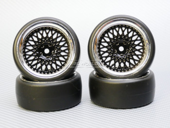 1/10 DRIFT Wheels 3MM Offset BLACK Mesh W/ Chrome LIP *4pcs*