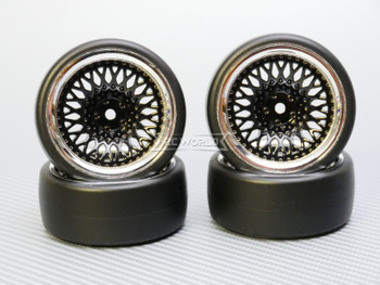 1/10 DRIFT Wheels 9MM Offset BLACK Mesh W/ Chrome LIP *4pcs*