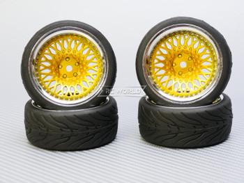 1/10 STREET Wheels 9MM Offset GOLD Mesh W/ Chrome LIP *4pcs*