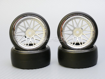 1/10 DRIFT Wheels 6MM Offset SILVER 3 Piece W/ Chrome LIP *4pcs*