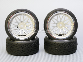 1/10 STREET Wheels 6MM Offset SILVER 3 Piece W/ Chrome LIP *4pcs*