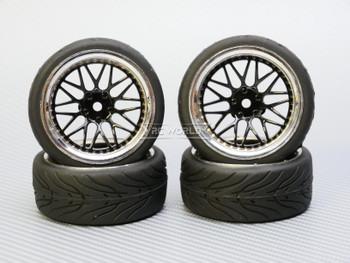 1/10 STREET Wheels 6MM Offset BLACK 3 Piece W/ Chrome LIP *4pcs*