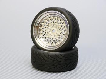 1/10 STREET Wheels Vintage 3MM Offset SILVER Work Mesh W/ Chrome LIP *4pcs*