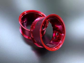 Tetsujin RC Car Wheels Lip Adjustable Offset 3/6/9mm -CHROME RED Lip- 4 pcs