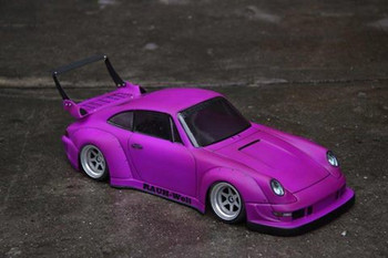1/10 Body Shell PORSCHE Turbo RWB Wide Body W/ Rear Wing *Clear*