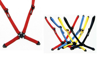 RC Scale SEAT BELT V2 Straps 4 Point Racing Harness Straps RED