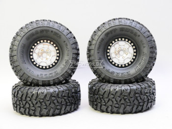 1/10 Metal Truck Wheels 1.9 Beadlock Rims G1 Silver + Black W/ Pit Bull Tires