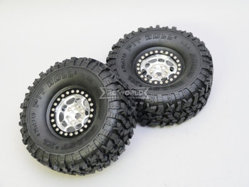 RC 1/10 Truck Wheels 1.9 Beadlock Rims G1 Silver + Black W/ Pit Bull Tires