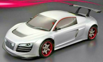 RC Car BODY Shell AUDI R8 W/ Wing -CLEAR-