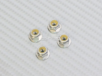 RC 1/10 Anodized Aluminum  M4 Nylon Center NUT CAP -4 pcs- SILVER