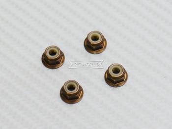 RC 1/10 Anodized Aluminum  M4 Nylon Center NUT CAP -4 pcs - BRONZE -