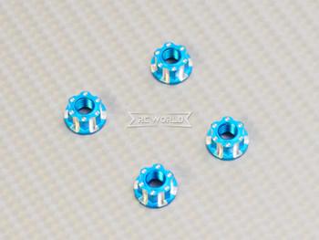 RC 1/10 Anodized Aluminum M4 Deco Center NUT CAP -4 pcs - Light BLUE -
