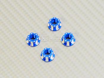 RC 1/10 Anodized Aluminum  M4 Deco Center NUT CAP -4 pcs - BLUE-