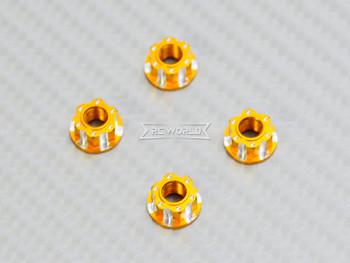 RC 1/10 Anodized Aluminum  M4 Deco Center NUT CAP -4 pcs - GOLD -