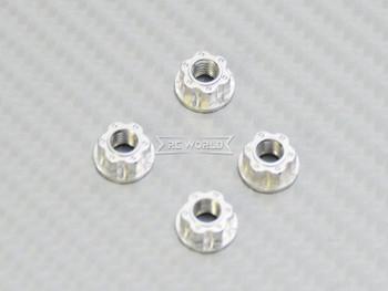 RC 1/10 Anodized Aluminum  M4 Deco Center NUT CAP -4 pcs - SILVER -