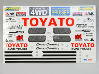 "RC 1/10 Car Truck TOYOTA 4X4 Truck DECALS STICKERS 6""x4"" Sheet RED"