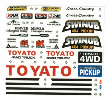 "RC 1/10 Car Truck TOYOTA 4X4 Truck DECALS STICKERS 6""x4"" Sheet"
