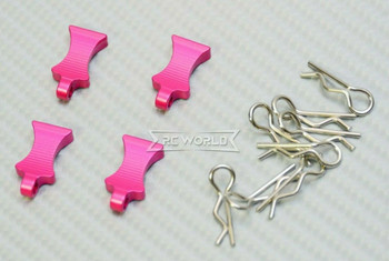 RC 1/10 METAL BODY POST CLIPS W/ Aluminum Tails (4 pcs) PINK