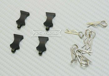 RC 1/10 METAL BODY POST CLIPS W/ Aluminum Tails (4 pcs) BLACK