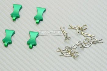 RC 1/10 METAL BODY POST CLIPS W/ Aluminum Tails (4 pcs) GREEN