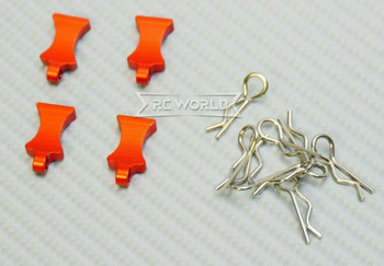 RC 1/10 METAL BODY POST CLIPS W/ Aluminum Tails (4 pcs) RED