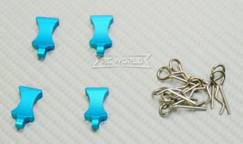 RC 1/10 METAL BODY POST CLIPS W/ Aluminum Tails (4 pcs) BLUE