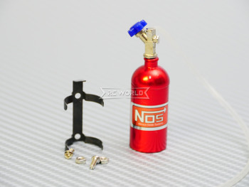 1/10 Scale Metal NITROUS NOS Bottle w/ MOUNT + LINE - RED -