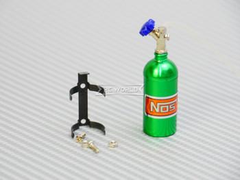 1/10 Scale Metal NITROUS NOS Bottle w/ MOUNT + LINE - GREEN -