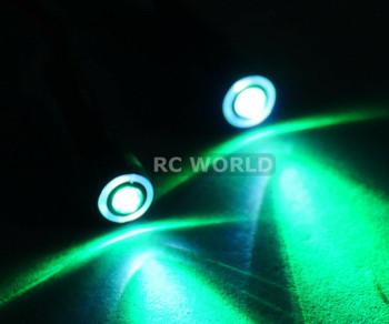 RC LED 10mm HALO LED Headlights - GREEN Center - WHITE HALO - 2 BULBS-