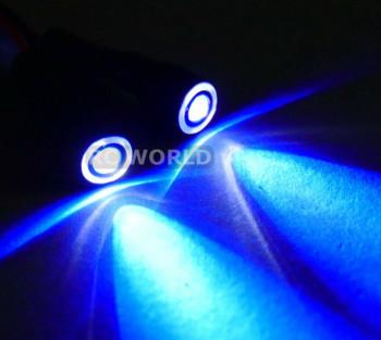 RC LED 10mm HALO LED Headlights - BLUE Center - WHITE HALO - 2 BULBS-