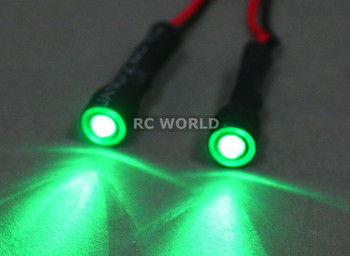 RC LED 10mm HALO LED Headlights - GREEN Center - GREEN HALO - 2 BULBS-