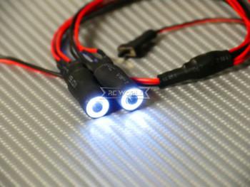 RC LED 10mm HALO LED Headlights - WHITE Center - WHITE HALO - W/ Switch