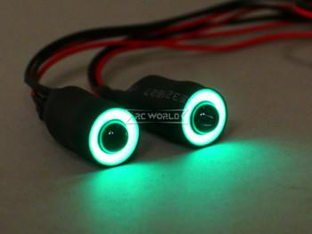 LED Lights GREEN Halo Angel Eyes 13mm Headlights White Center