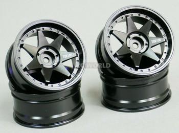 1/10 RC Metal RIMS 7 Star DRIFT WHEELS Rim Lightweight 52x26 MM BLACK (4PCS)
