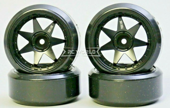 1/10 RC Metal RIMS 7 Star DRIFT Wheels Lightweight 6mm W/ DRIFT Tires 4PCS BLACK