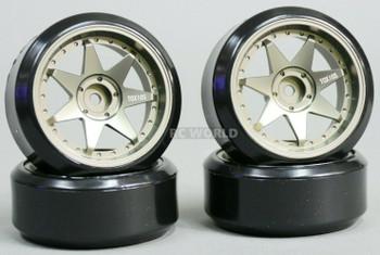 1/10 RC Metal RIMS 7 Star DRIFT Wheels Lightweight 6mm W/ DRIFT Tires 4PCS TITANIUM