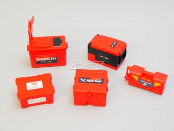 RC 1/10 Scale CARGO Luggage, Fish Box, Tool Box, Case (5PCS) -BLACK-