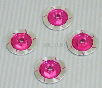1/10 Aluminum SCALE DISK ROTORS Scale Accessories (4) Pcs Set - PINK